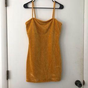 Yellow ribbed velvet dress